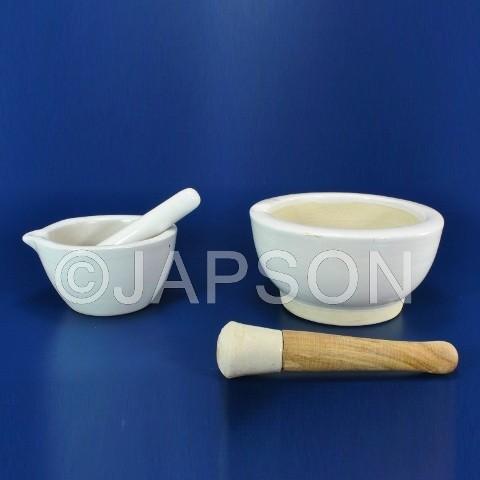 Mortar & Pestle, Porcelain U Type, Round Form
