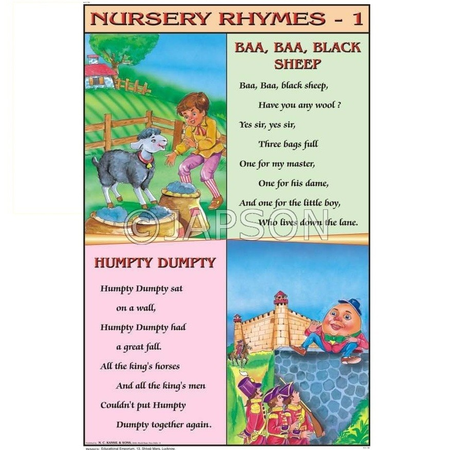 Nursery Rhymes Charts, School Education