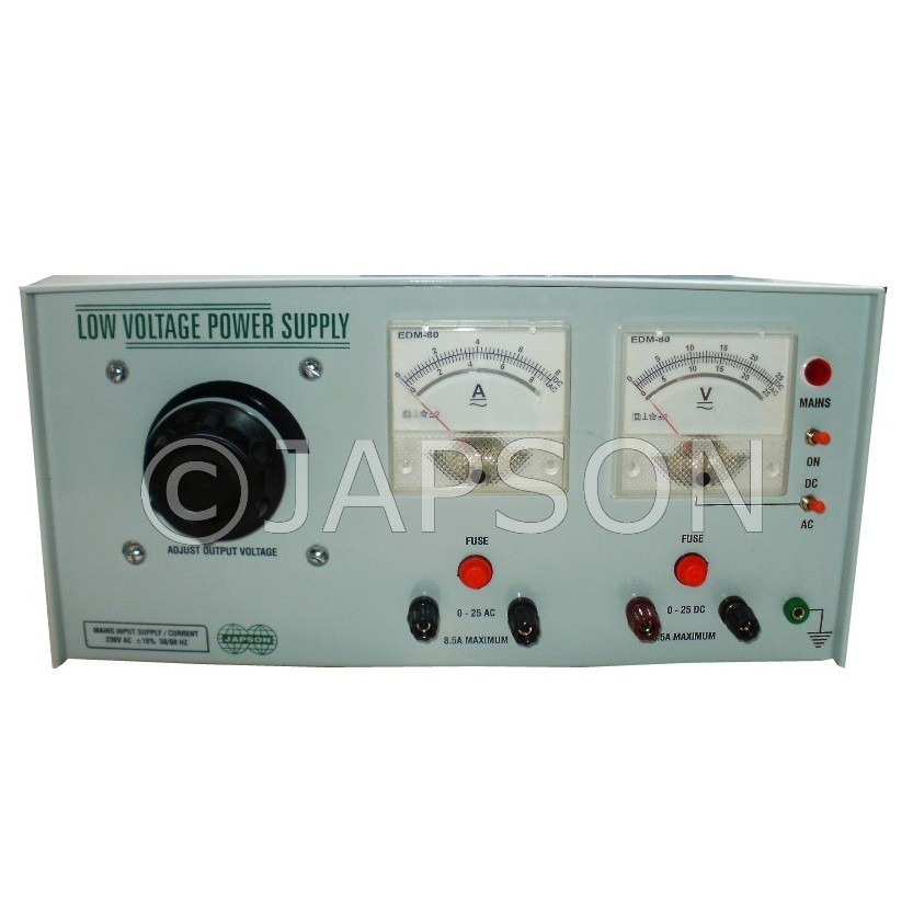 Power Supply with Analog/Digital Meter, Continuous Type, 0-24V AC/DC 5 Amp