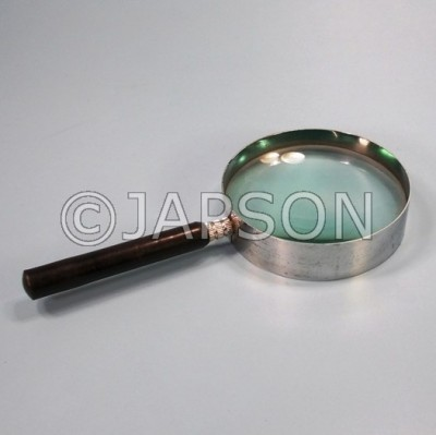 Hand Lens/Magnifier, Metal Frame with Plastic Handle