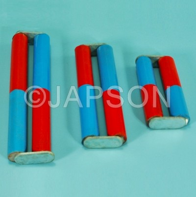 Cylindrical Bar Magnet, Pair, Chrome Steel