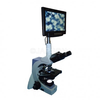 Digital Microscope with Binocular Head and LCD Screen, 30 Degrees