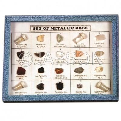 Ores Set, Collection of 20 Metallic Ores