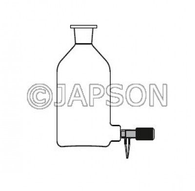 Quartz Aspirator Bottle with Silicon Stopper & Screw Type Teflon Stopcock