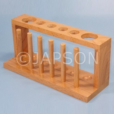 Test Tube Stand, Wooden, With Drying Pegs