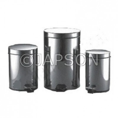 Waste Bin Pedestal with Plastic Buket Foot Operated, Stainless Steel