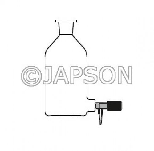 Quartz Aspirator Bottle with Silicon Stopper & Screw Type Teflon Stopcock